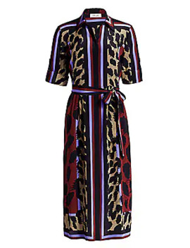 Sogol Striped Bi Color Leopard Silk Dress by Diane Von Furstenberg