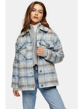 Petite Blue Check Jacket by Topshop