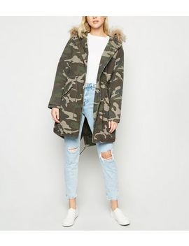 Green Camo Faux Fur Trim Hooded Parka by New Look