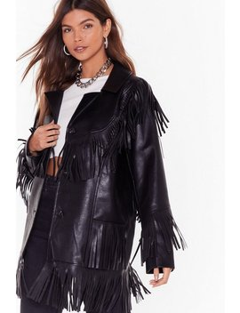 Leather Going Back Fringed Faux Leather Jacket by Nasty Gal