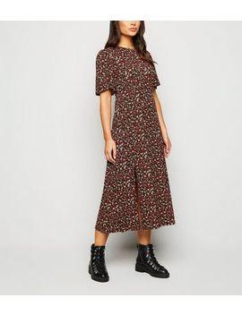 Petite Black Floral Jersey Side Split Midi Dress by New Look