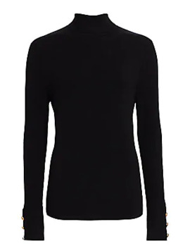Odette Button Cuff Turtleneck Top by L'agence