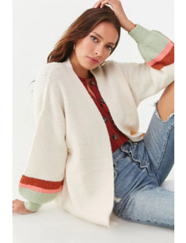 Ribbed Colorblock Trim Cardigan by Forever 21