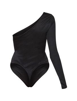 Black Stretch Crepe One Shoulder Short Sleeve Bodysuit  by Prettylittlething