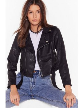 Snake It Happen Faux Suede Biker Jacket by Nasty Gal