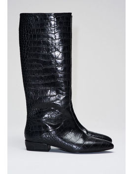 Croco Patterned Leather Boots by Claudie Pierlot