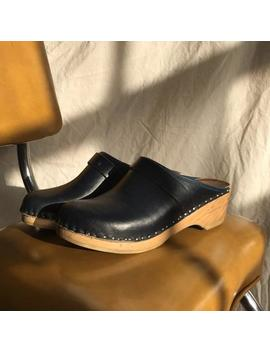 Vintage 1970's Navy Leather Clogs With Wooden Heel, Bastad Made In Sweden, Size 6.5 7 by Etsy