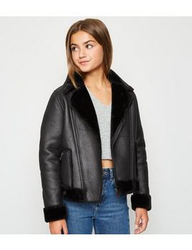 Girls Black Leather Look Aviator Jacket by New Look