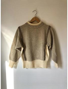 Vintage 80's Ivory And Oatmeal Lambswool Sweater by Etsy