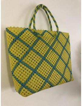 Vintage Yellow And Blue Plastic Woven Tote Bag by Etsy