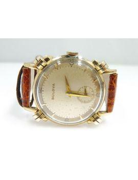1940's Bulova 10 K Rolled Gold Manual Wind Fancy Lug Watch Overhauled by Bulova
