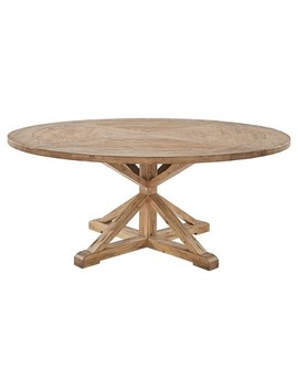 """Sierra Round Farmhouse Pedestal Base Wood Dining Table   72""""   Vintage Pine   Inspire Q by Inspire Q"""