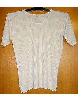 T Shirt Beige Reine Seide Gerippt Gr S   M by Ebay Seller