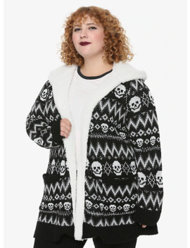 Skull Fair Isle Sherpa Girls Open Cardigan Plus Size by Hot Topic
