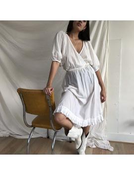 "Vintage White Cotton Midi Prairie Slip Skirt, Size S L, 25"" 36"" Elasticated Waist by Etsy"