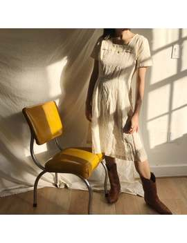 Vintage 1950's Cream Eyelet Cotton Midi Dress, Size S M by Etsy