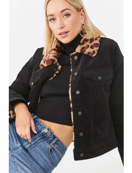 Faux Fur Leopard Trim Jacket by Forever 21