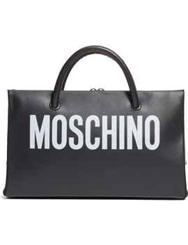 Small Calfskin Leather Shopper Clutch by Moschino