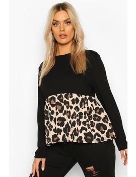 P Lus Contrast Leopard Long Sleeve Smock Top by Boohoo