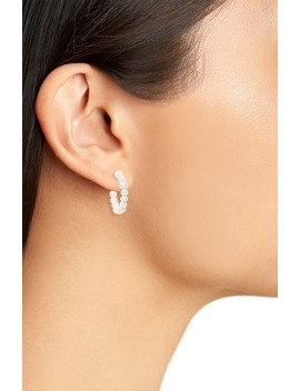 Lele Saoughi Pearl Huggie Hoop Earrings by Lele Sadoughi