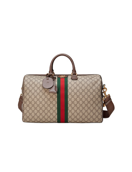 Ophidia Gg Medium Carry On Duffle In Beige Ebony & Green & Red by Gucci