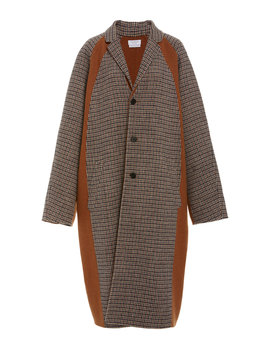 Oversized Checked Wool Blend Coat by Deveaux