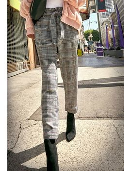 Paperbag Plaid Trousers by Justfab