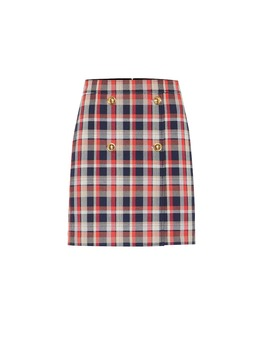 Checked Cotton Blend Miniskirt by Tory Burch