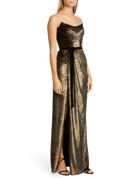 Strapless Foiled Velvet Gown by Marchesa Notte