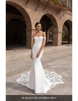 Syrinx Off The Shoulder Lace Trim Crepe Trumpet Wedding Dress by Pronovias