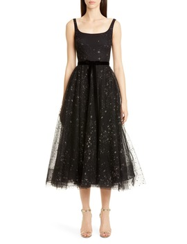 Glitter Star Tulle Cocktail Dress by Marchesa Notte