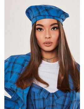 Hayden Williams X Missguided Blue Check Beret by Missguided