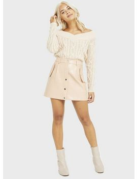 Petite Cream Snake Design Pu Mini Skirt by Miss Selfridge