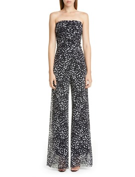 Graphic Leopard Print Strapless Jumpsuit by Fuzzi