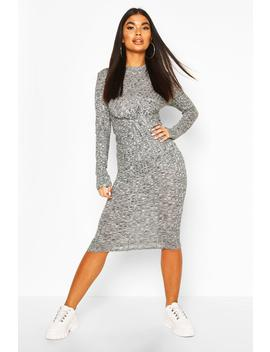 Petite Knitted Rib Knot Front Midi Dress by Boohoo