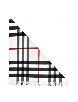 Burberry Cashmere Check Bandana Scarf Natural White by Burberry