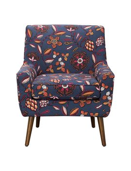 Home Pop Gerrit Modern Blue / Pink Floral Accent Armchair by Home Pop
