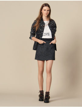 Short A Line Tweed Skirt by Sandro Paris