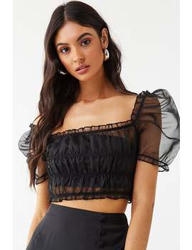Sheer Organza Shirred Crop Top by Forever 21