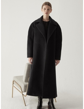 Cashmere Blended Maxi Coat Black by Bemusemansion