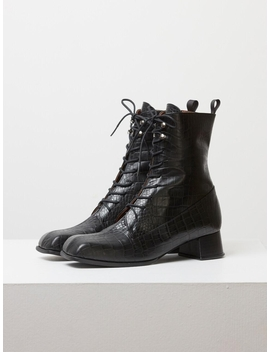 Ws192033007  Lace Up Retro Wani Boots Black by Ditole