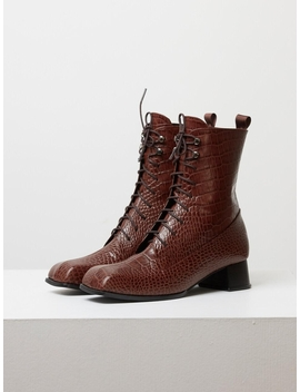Ws192033007  Lace Up Retro Wani Boots Brown by Ditole