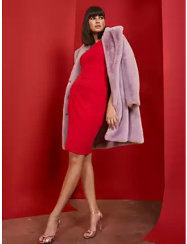 Red Pleated Sheath Dress by New York & Company
