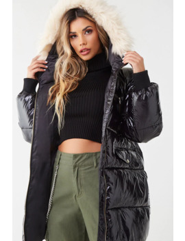Sheeny Hooded Puffer Jacket by Forever 21