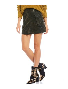 Carson Faux Suede Utility Mini Skirt by Free People