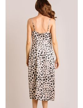 Giselle Leopard Satin Midi Dress by Morning Lavender