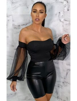 Black Mesh Organza Sleeve Bardot Crop Top   Ivana by Femme Luxe