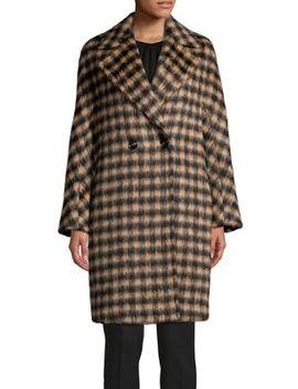 Checkered Alpaca Wool Blend Double Breasted Coat by Max Mara Studio