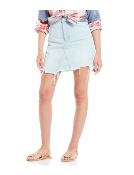 Going Rogue Distressed Denim Skirt by Free People