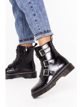 Triple Buckle Cleated Contrast Stitch Biker Boot by Nasty Gal